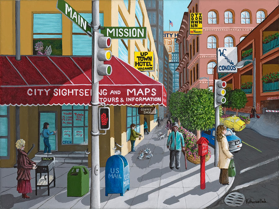 Print Painting - City Corner by Katherine Young-Beck