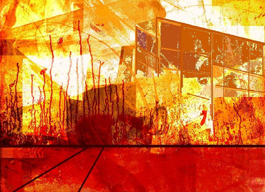 Abstract Digital Art - City in red and yellow by Joseph Ferguson