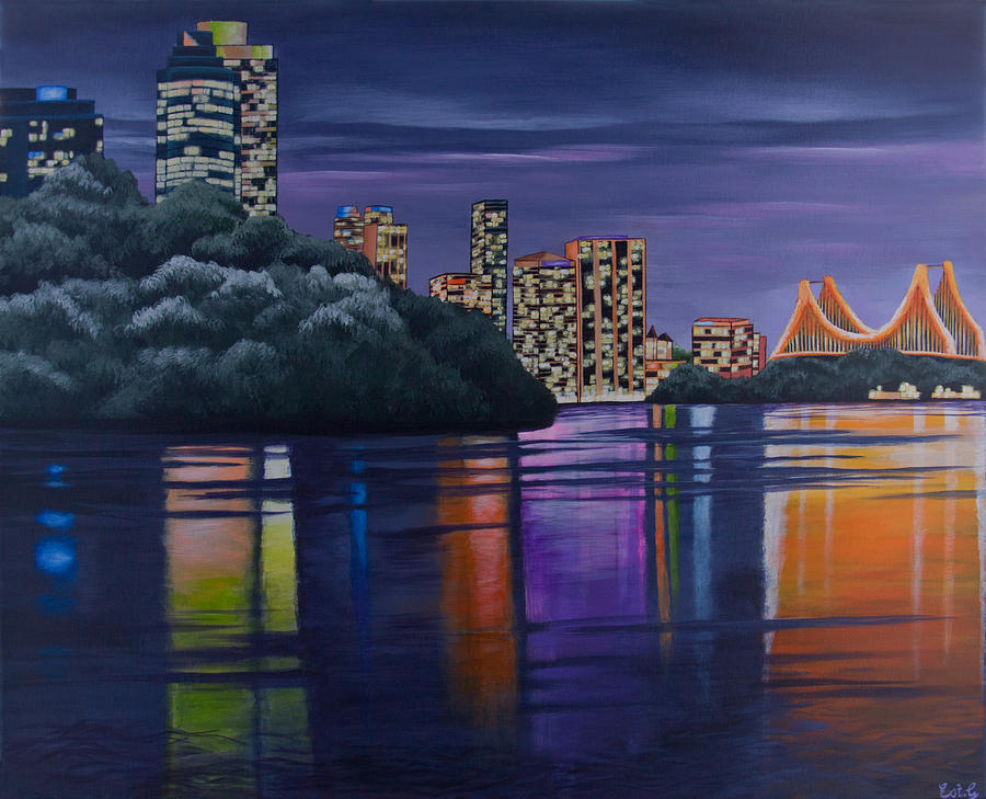 City Night Lights Painting by Ellie St George