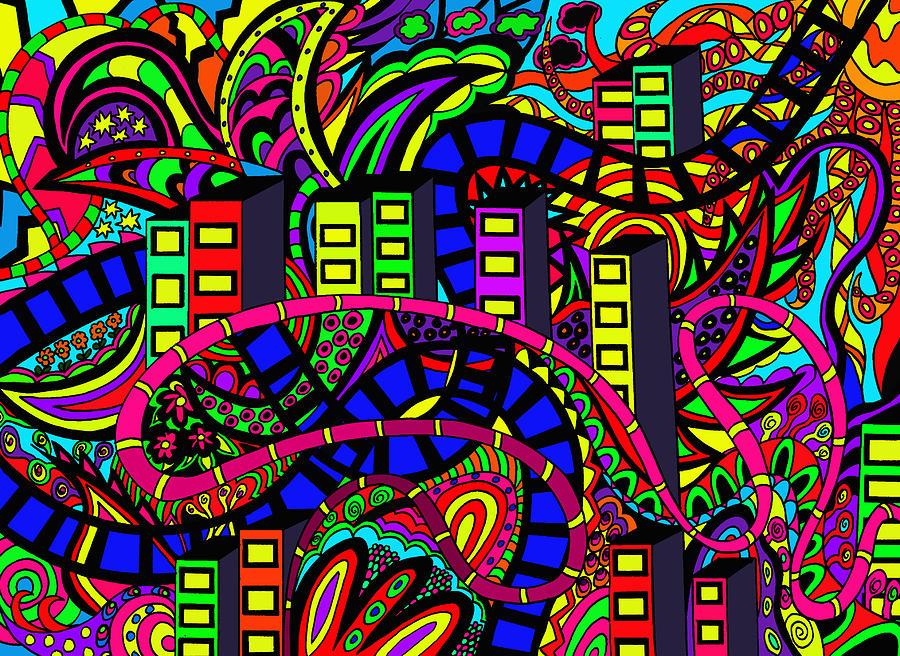 City Scape Drawing - City Of Life by Karen Elzinga