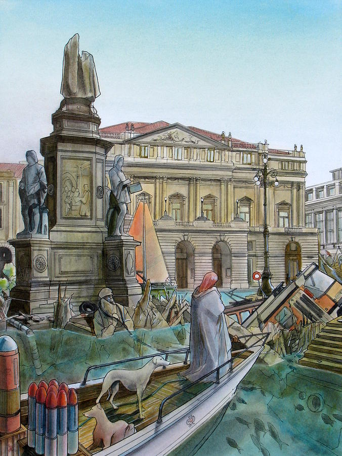 Milan Painting - City Of Milan In Italy Under Water by Fabrizio Cassetta