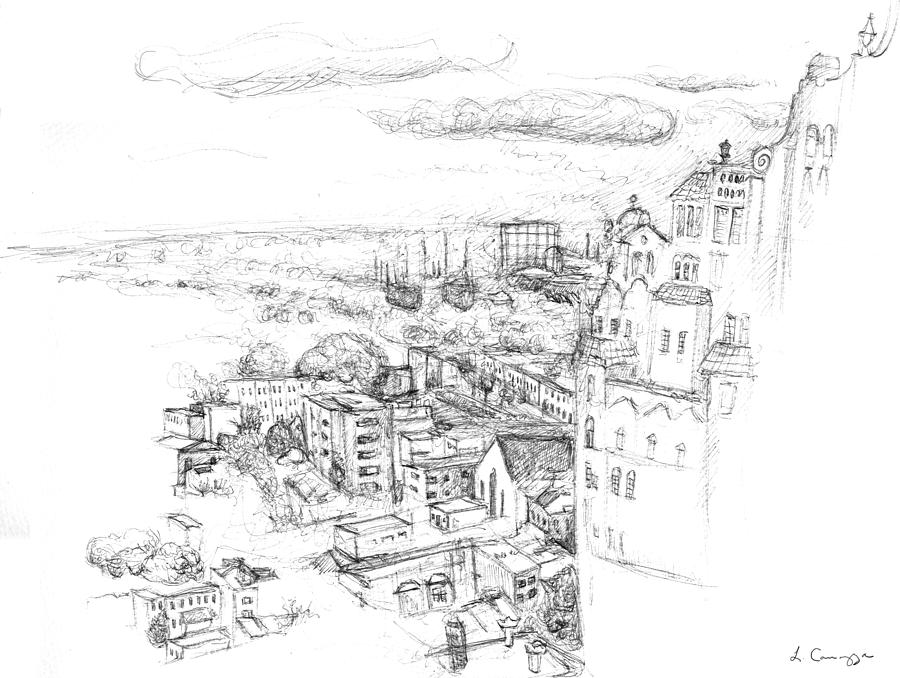 Philadelphia Drawing - City Scape Philadelphia Pa by Elizabeth Carrozza