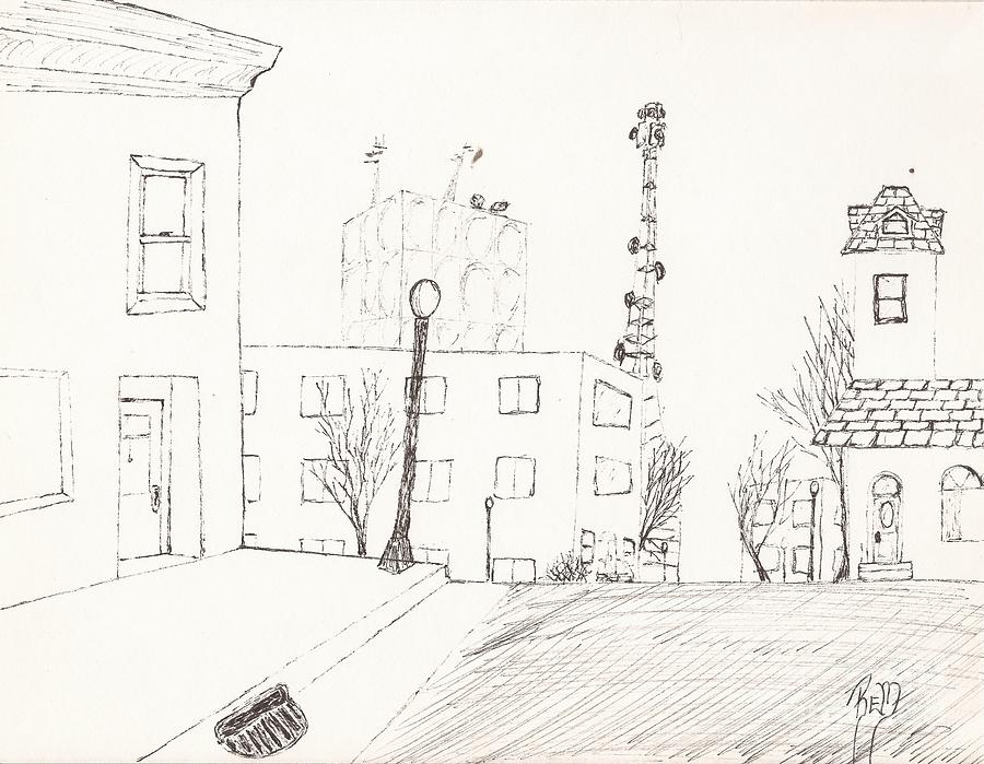 City Street Drawing - City Street - Sketch by Robert Meszaros