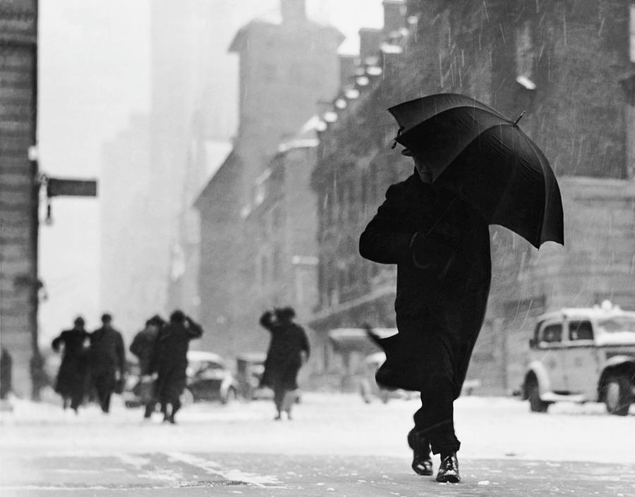 Adults Only Photograph - City Street During Snow Storm by George Marks