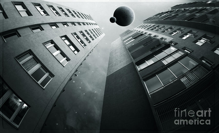 Surreal Digital Art - City1 by Simon Siwak