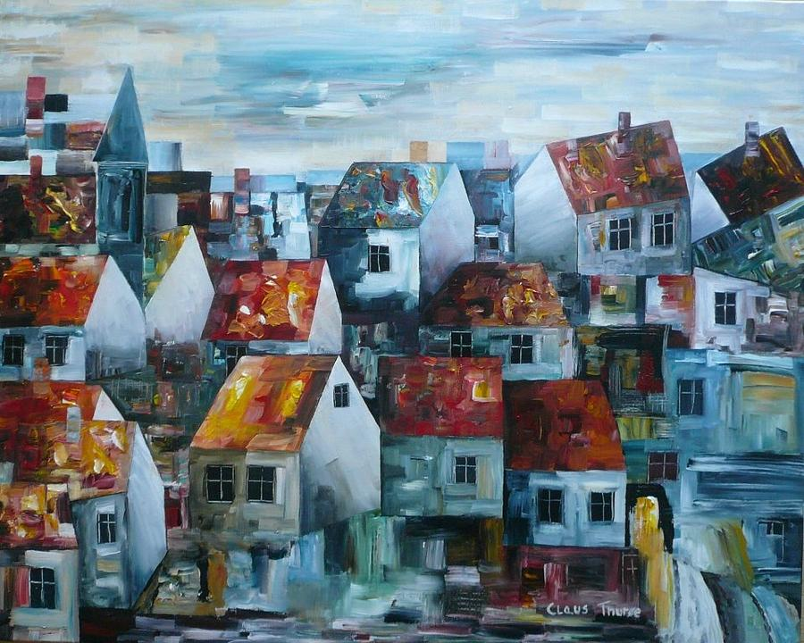 City Painting - Cityscape With Tower by Claus Thuroe