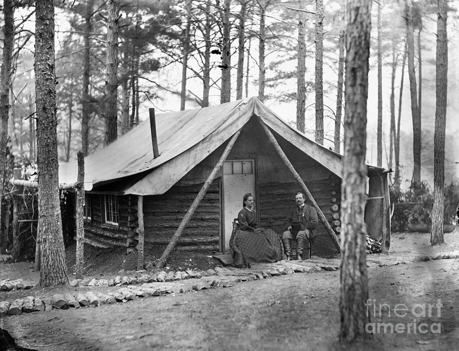1864 Photograph - Civil War: Log Cabin, 1864 by Granger