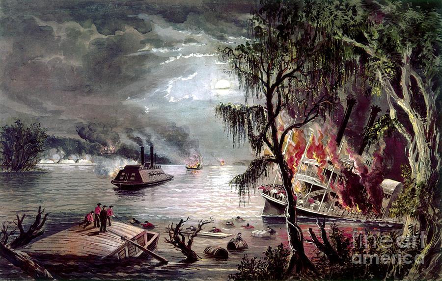 Civil War: Naval Battle Photograph by Granger