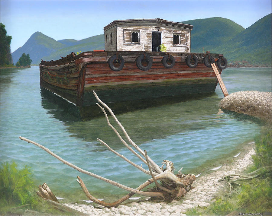 Barge Painting - Claims Of Time by Glen Heberling