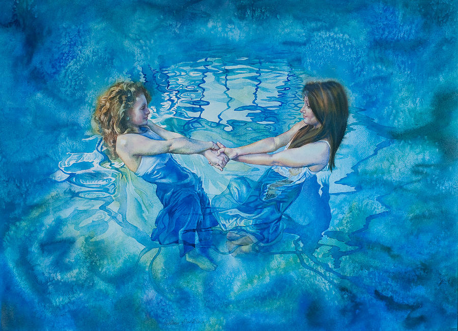 Swimming Painting - Clair De Lune by Gilly Marklew