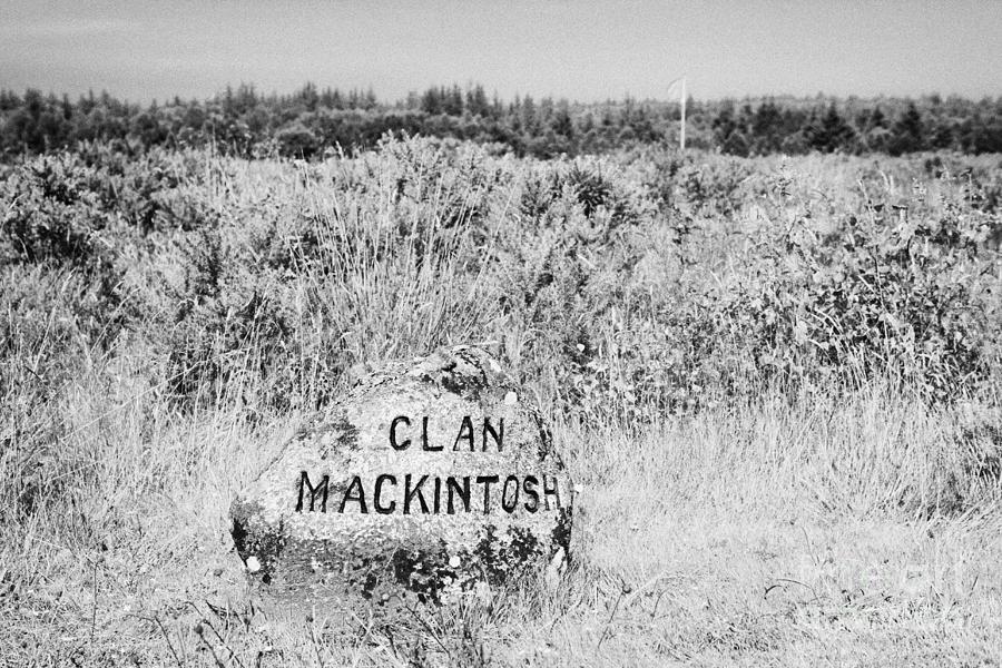 Memorial Photograph - clan mackintosh memorial stone on Culloden moor battlefield site highlands scotland by Joe Fox