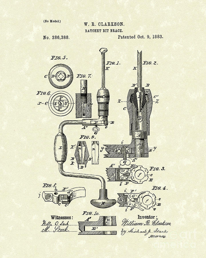Clarkson Drawing - Clarkson Bit Brace 1883 Patent Art  by Prior Art Design
