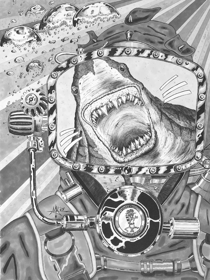 Diving Drawing - Clash With Reality by Robert Fenwick May Jr