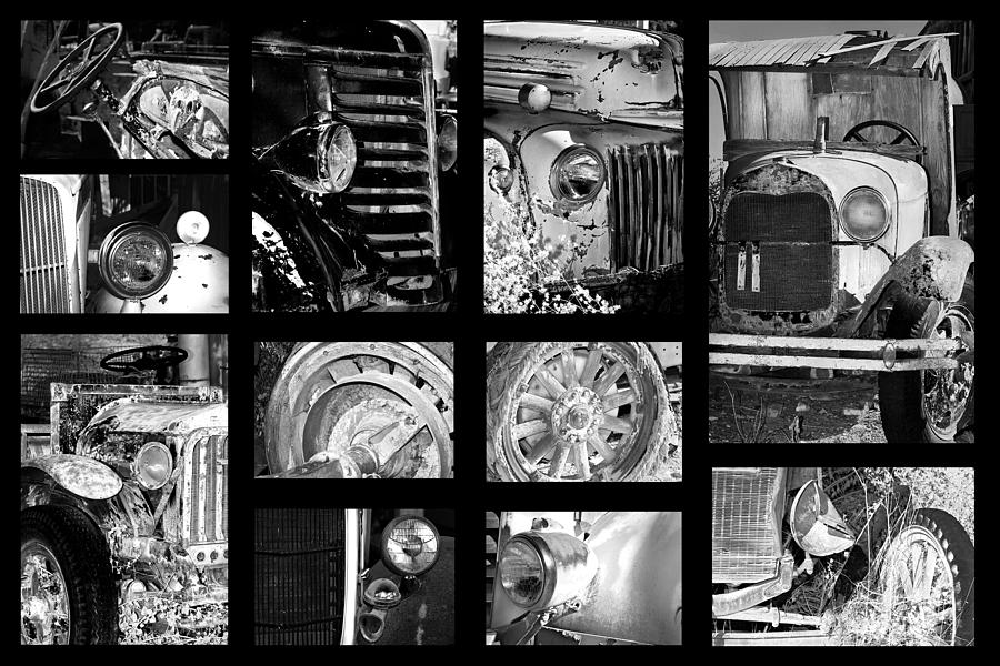 Collage photograph classic car collage in black and white by phyllis denton