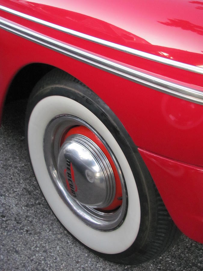 Vintage Photograph - Classic Car Mercury Red 1 by Anita Burgermeister