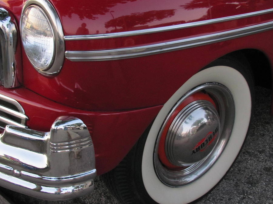 Vintage Photograph - Classic Car Mercury Red 3 by Anita Burgermeister