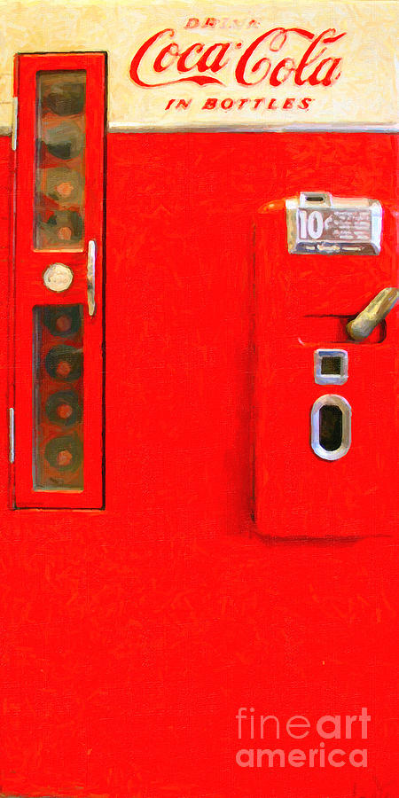 Coke Machine Photograph - Classic Coke Dispenser Machine . Type 2 . Long Cut by Wingsdomain Art and Photography