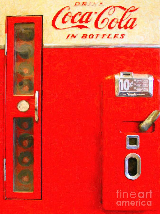 Coke Machine Photograph - Classic Coke Dispenser Machine . Type 2 by Wingsdomain Art and Photography