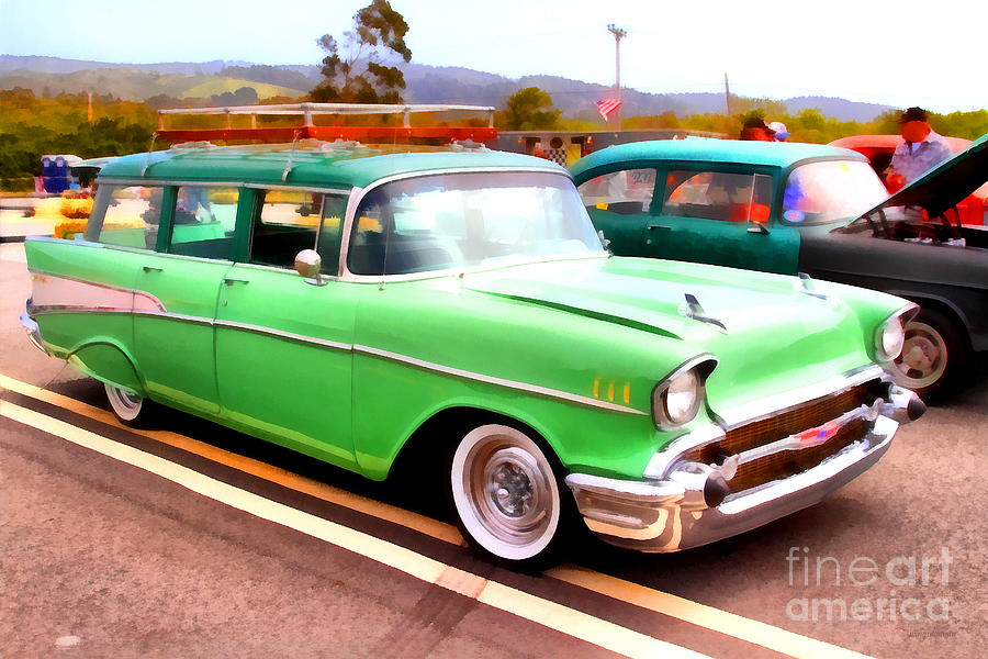 Transportation Photograph - Classic Green Chevrolet Stationwagon . 7d15213 by Wingsdomain Art and Photography