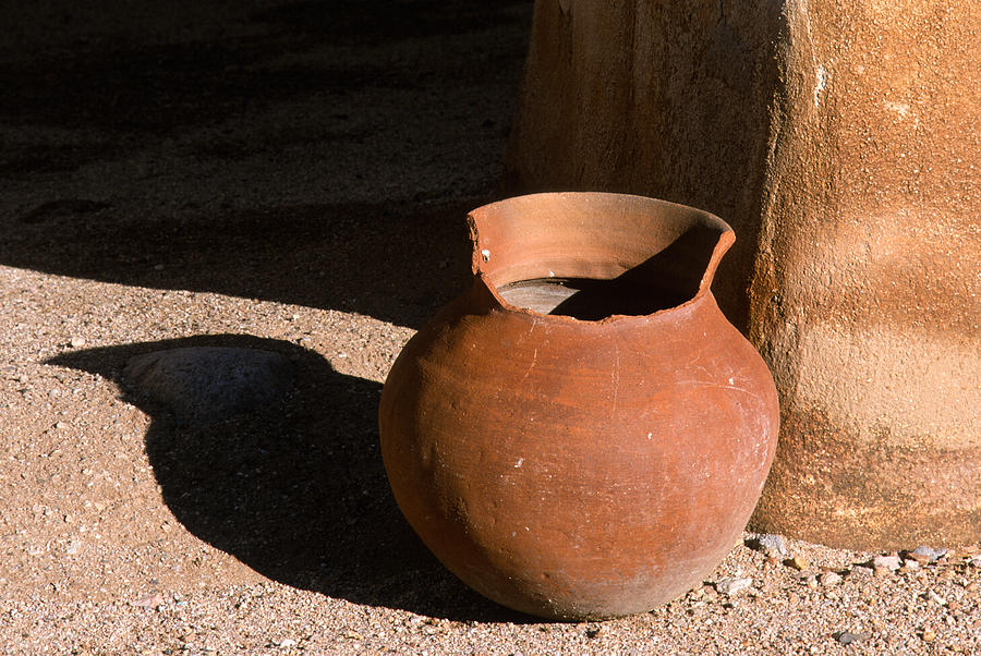 Mexican Pottery Photograph - Clay Pot And Shadow by Sandra Bronstein