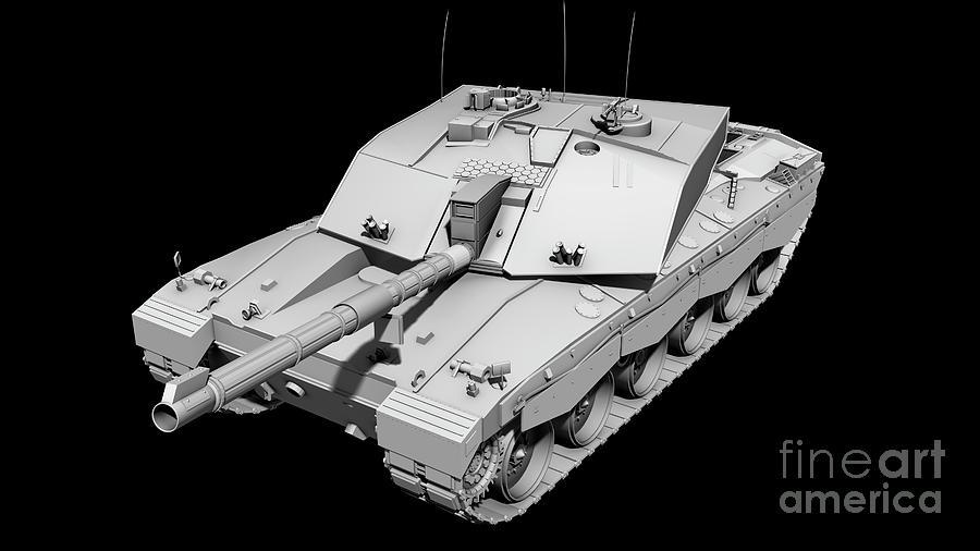 Horizontal Digital Art - Clay Render Of A Challenger II Tank by Rhys Taylor