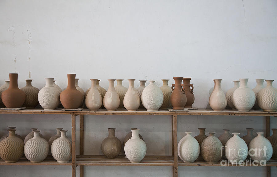 Clay Vases On Shelves Photograph By Shannon Fagan