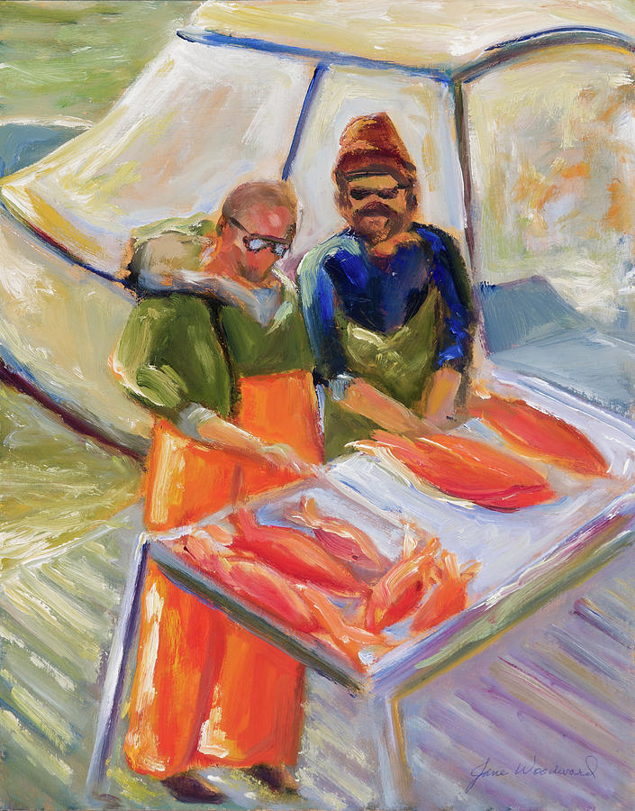 Fishing Painting - Cleaning the Catch by Jane Woodward