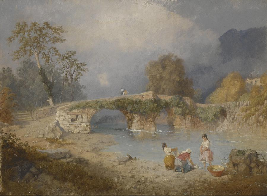 River Painting - Clearing Up For Fine Weather Beddgelert North Wales 1867 by James Baker Pyne