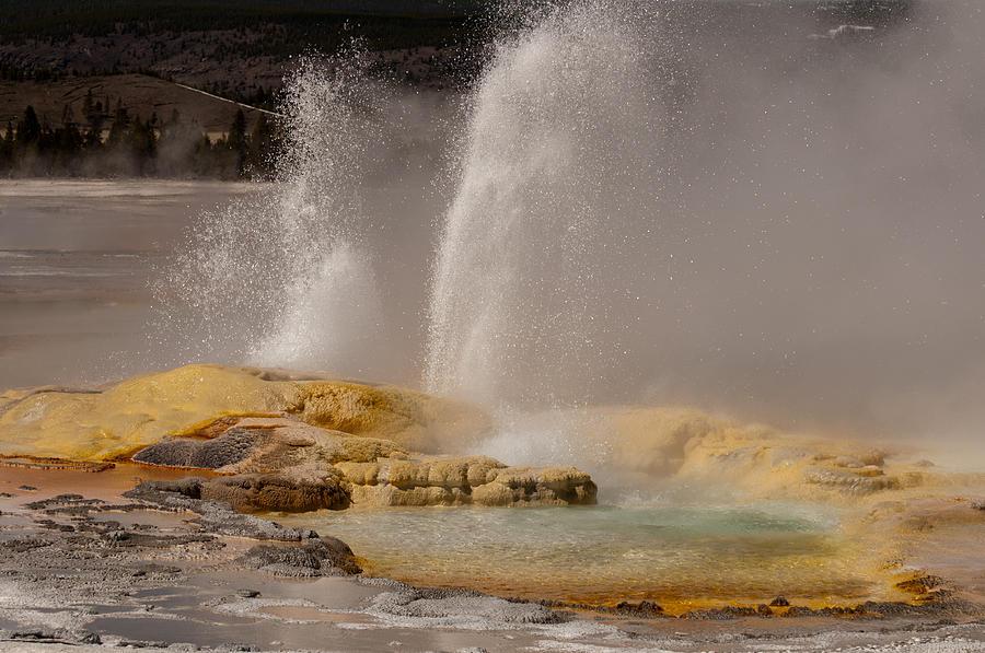 Geyser Photograph - Clepsydra Geyser Yellowstone National Park by Bruce Gourley