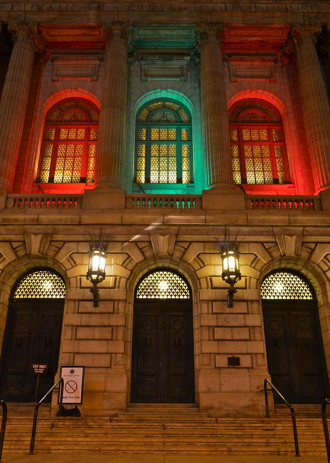 Night Photograph - Cleveland Courthouse by Frozen in Time Fine Art Photography