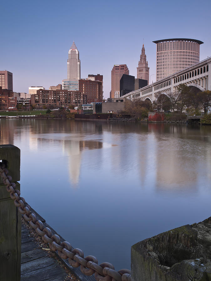 Alep Photograph - Cleveland From The River - Portrait by At Lands End Photography