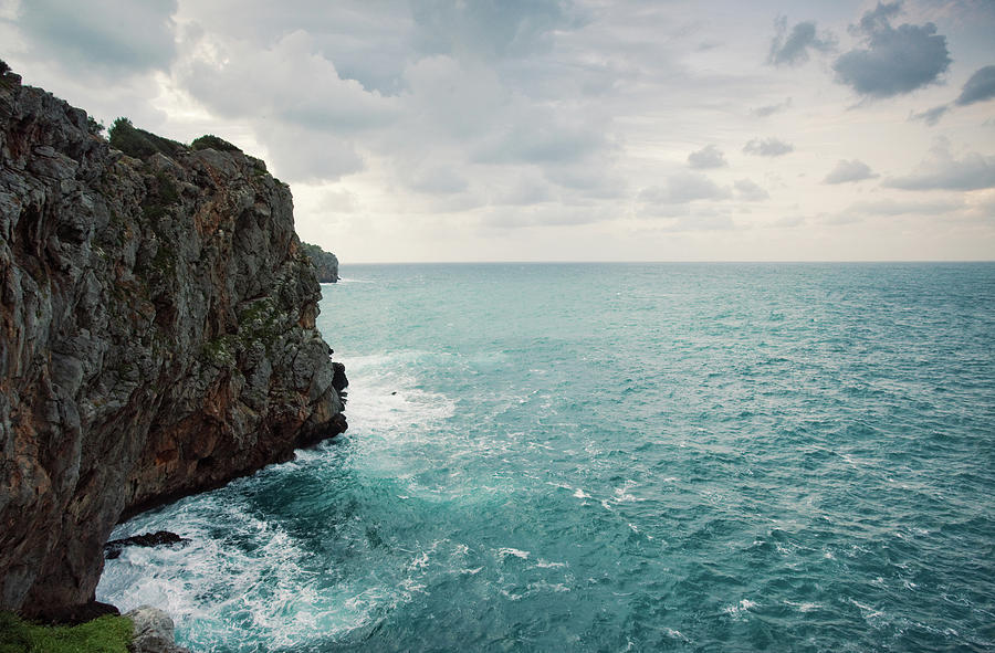 Horizontal Photograph - Cliff Line And Stormy Mediterranean Sea by Guido Mieth