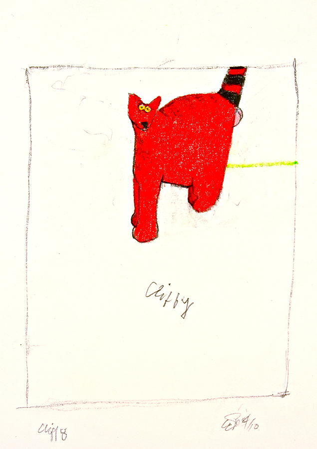 Drawing Drawing - Clifford The Dog Its Not But Cliffy The Cat It Is by Cliff Spohn