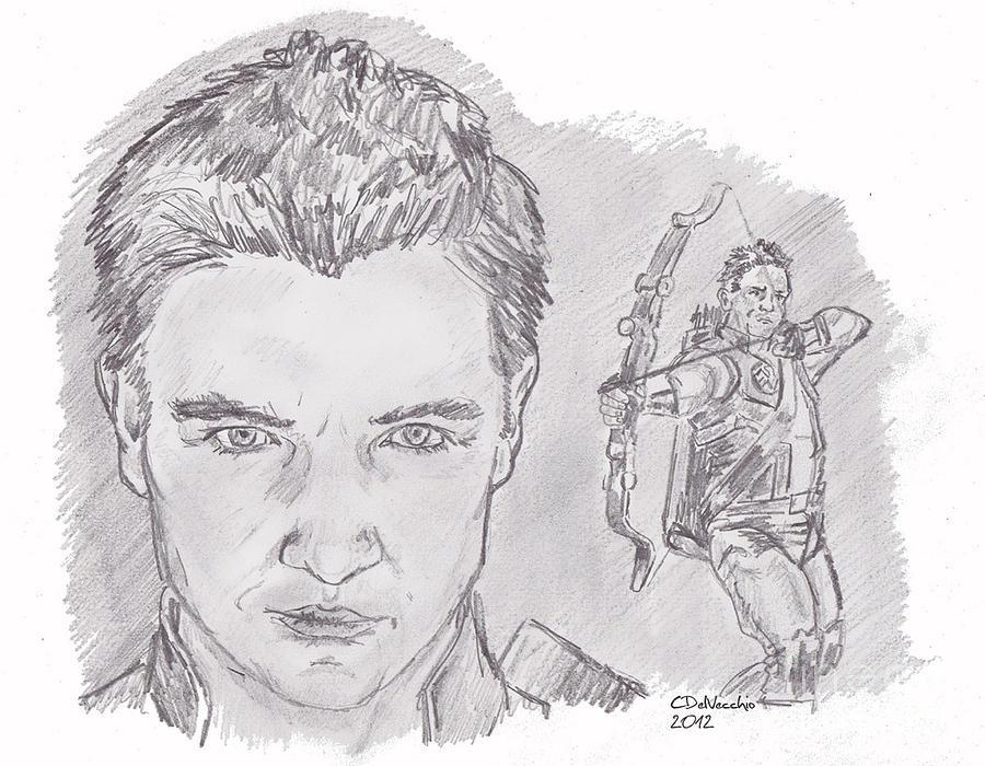 Clint Barton- Hawkeye Drawing by Chris  DelVecchio