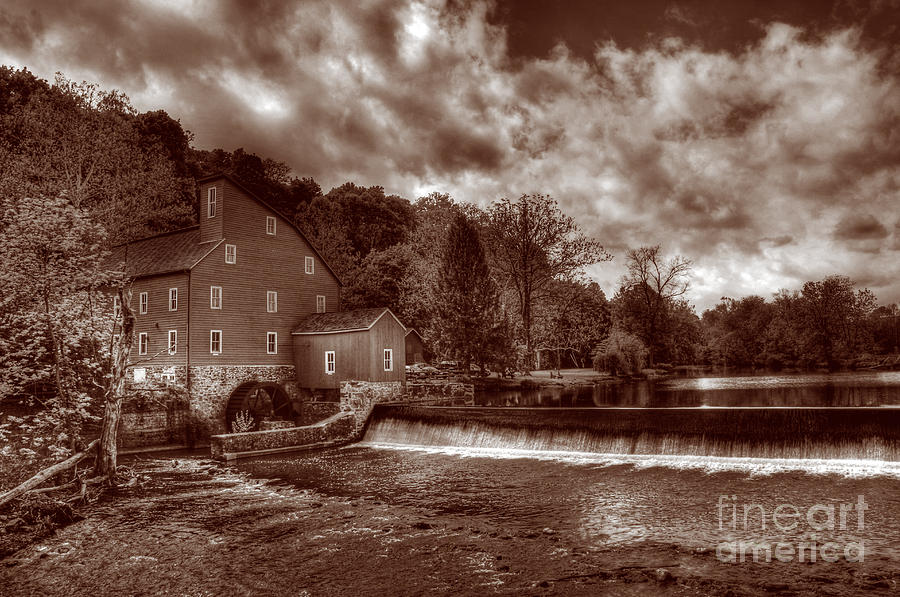 Sepia Photograph - Clinton Red Mill House Sepia by Lee Dos Santos