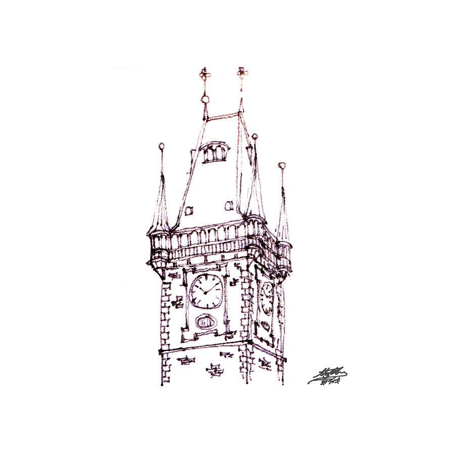 Sketch Drawing - Clock Tower by Steve Huang