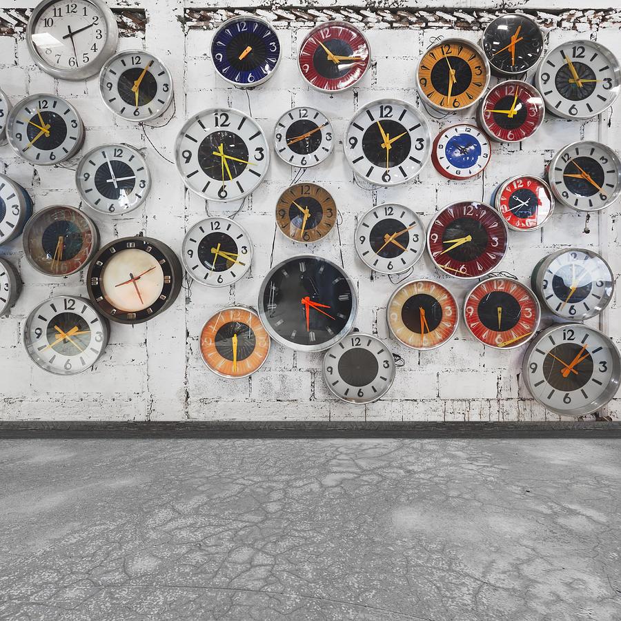 Aged Photograph - Clocks On The Wall by Setsiri Silapasuwanchai