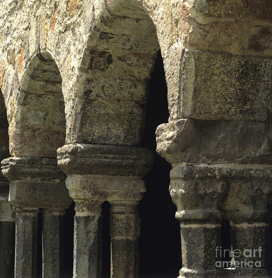 Architecture  Auvergne  Belief  Building  Buildings  Christian  Christianity  Cloister  Cloister  Cloisters  Convent  Convents  Creed  Day  Daylight  Daytime  During  Europe  European  Exterior  Exteriors  Faith  France  French  Garden  Gardens  Haute  Haute-loire  Lavaudieu  Loire  Monasteries  Monastery  Nobody  Of  Outdoor  Photo  Photos  Religion  Religious  Shot  Shots  The Photograph - Cloister Of Lavaudieu. Haute Loire. Auvergne. France. by Bernard Jaubert