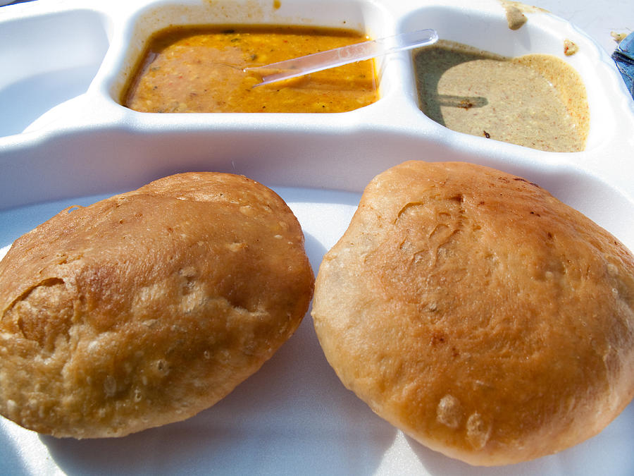 Close up of a plate of indian food delicacy kachori with for Art of indian cuisine
