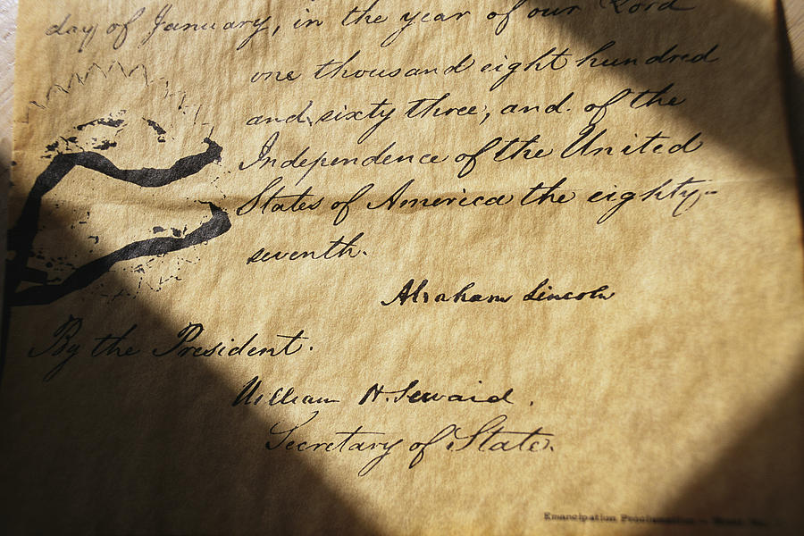 Legislation Photograph - Close-up Of Emancipation Proclamation by Todd Gipstein