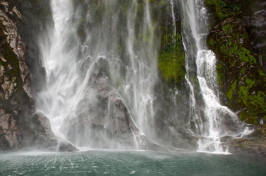 Milford Sound Photograph - Close Up Of One Of The Many Waterfalls by Brooke Whatnall