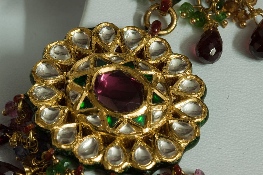 Necklace Photograph - Close Up Of The Gold And Diamond Setting Of A Large Necklace by Ashish Agarwal