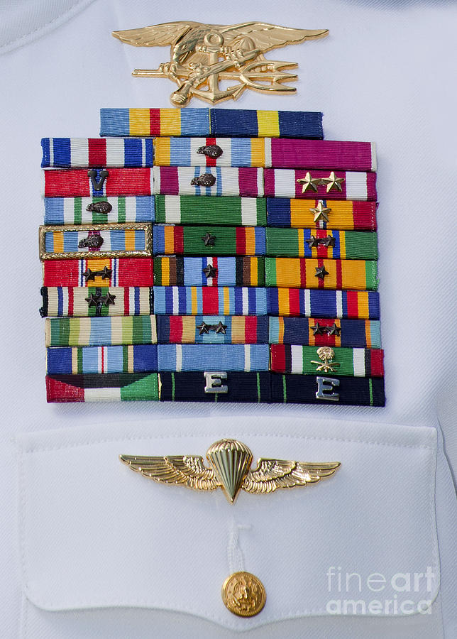 Military Photograph - Close-up View Of Military Decorations by Michael Wood