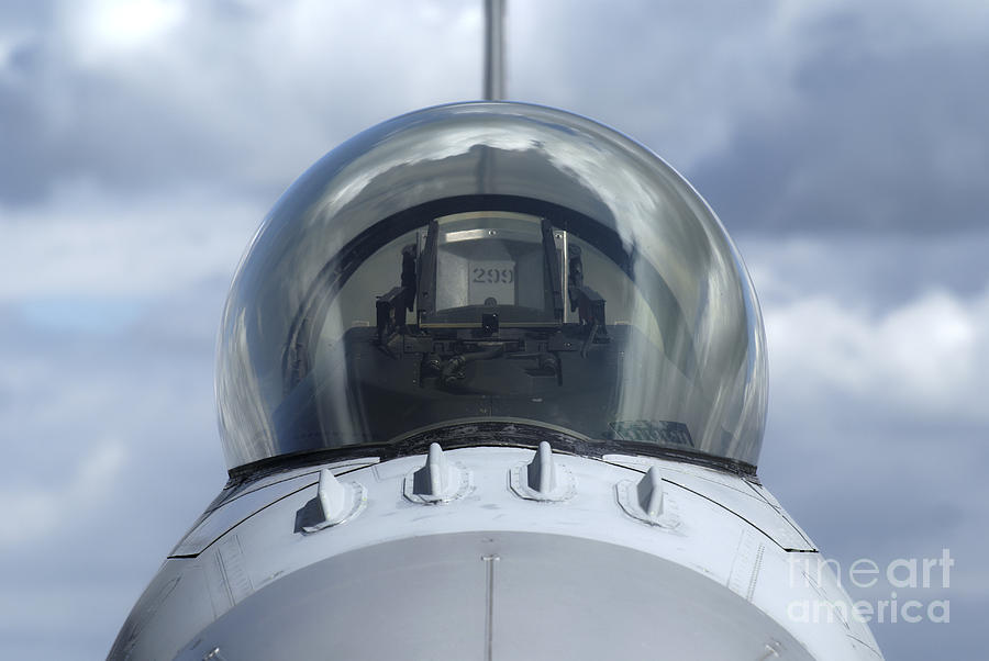 Germany Photograph - Close-up View Of The Canopy On A F-16a by Ramon Van Opdorp