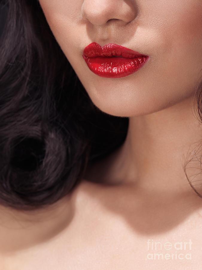 Lips Photograph - Closeup Of Woman Red Lips by Oleksiy Maksymenko