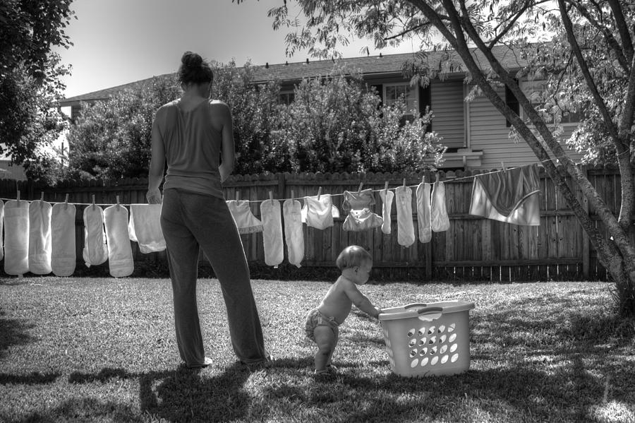 Diapers Photograph - Cloth Diapers On The Line by Justin Ellis
