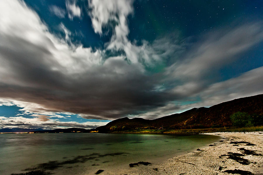 Aurora Borealis Photograph - Cloud And Auroras by Frank Olsen