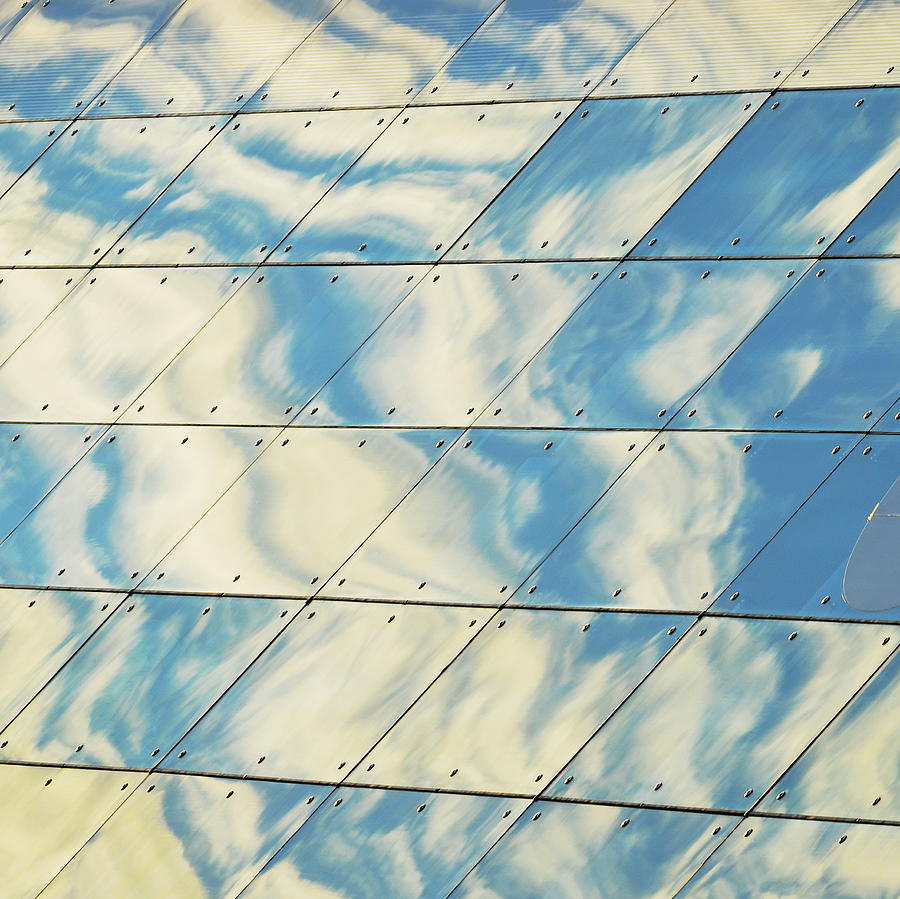 Horizontal Photograph - Cloud Reflections On Building Mirror by Befo