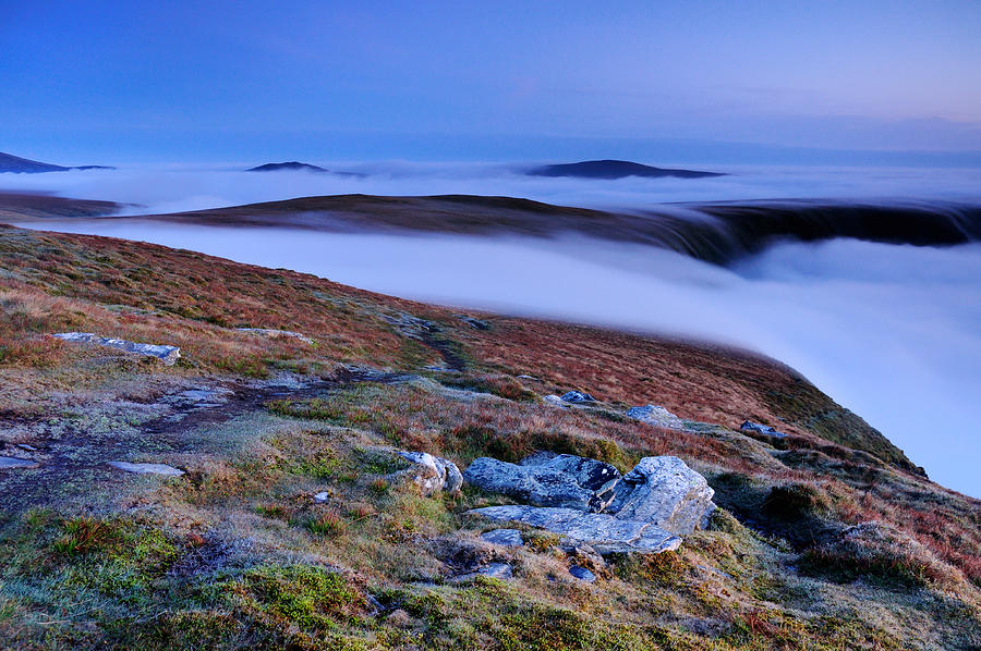 English Photograph - Cloud Waterfalls Bannerdale Crags by Stewart Smith