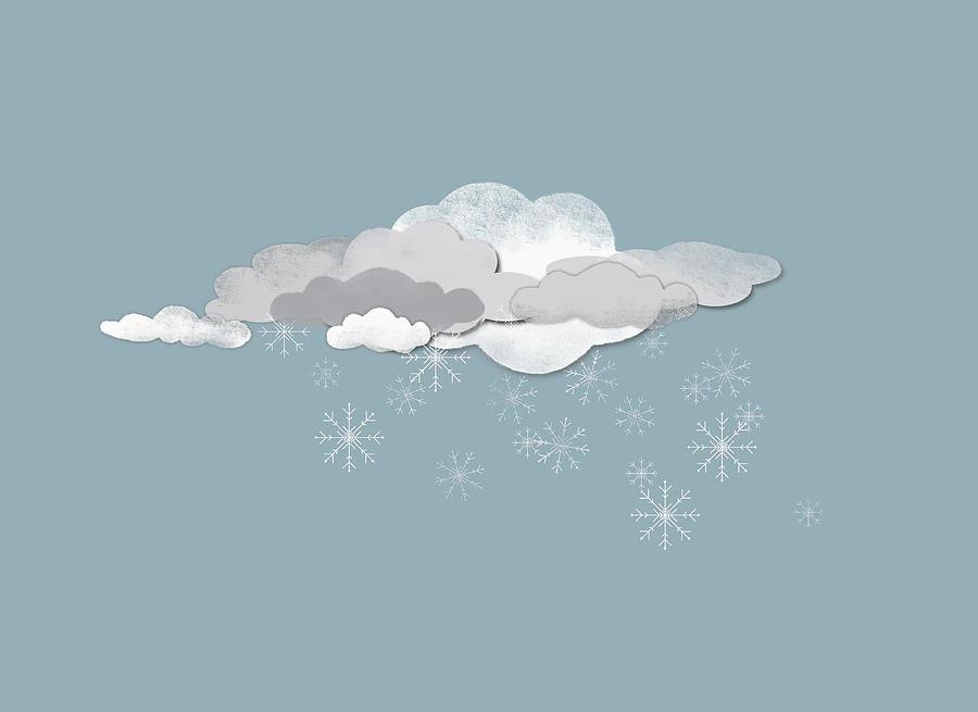 Horizontal Digital Art - Clouds And Snowflakes by Jutta Kuss